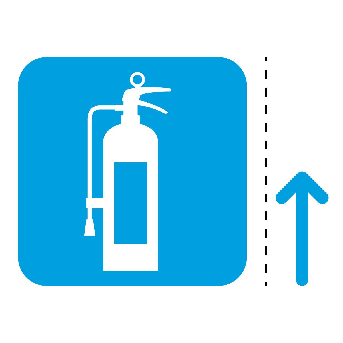 青色の消火器案内マーク(矢印付き)のカッティングステッカー・シール