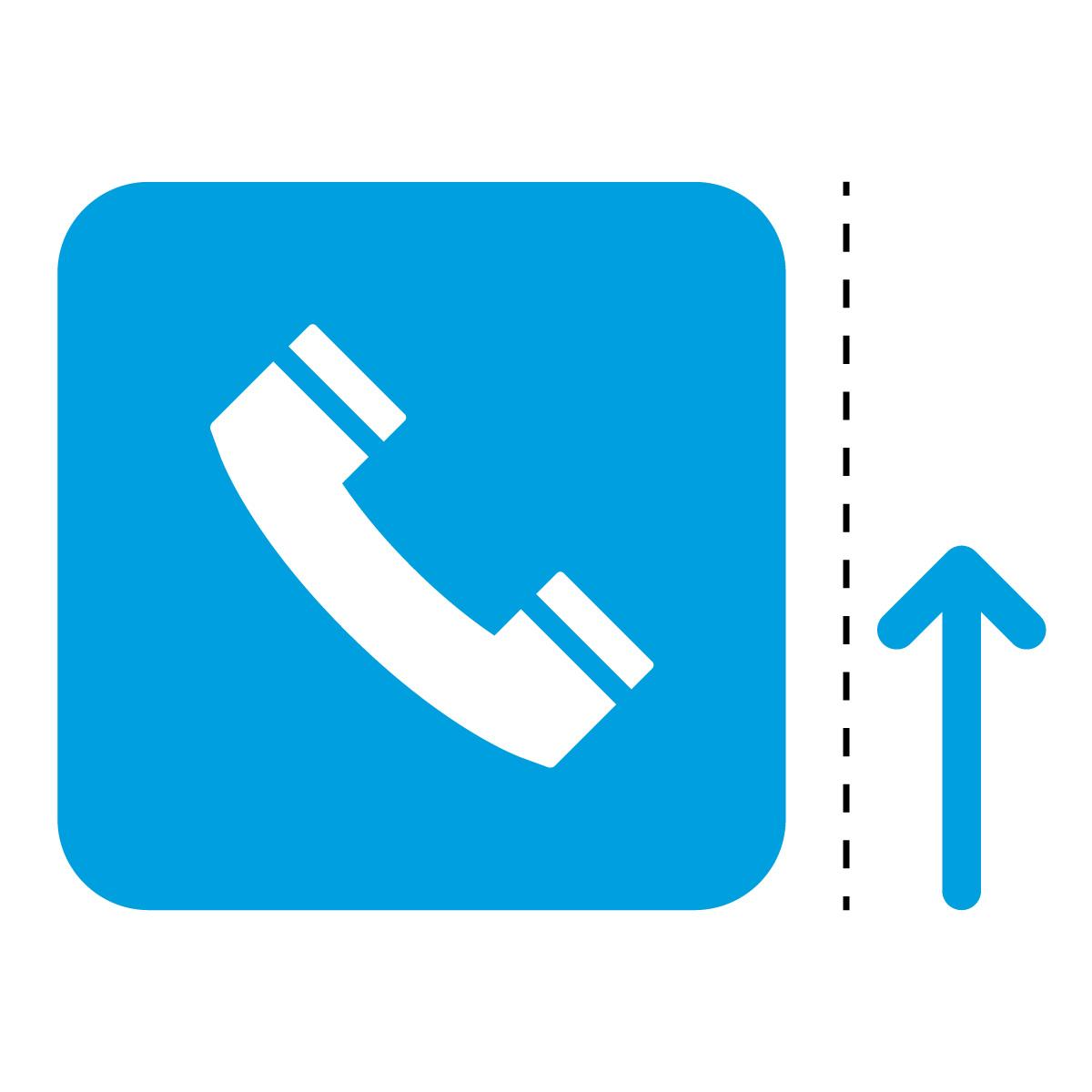 青色の公衆電話案内マーク(矢印付き)のカッティングステッカー・シール
