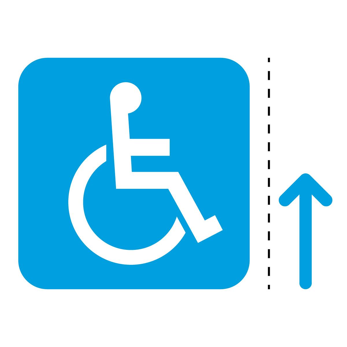 青色の車椅子・障害者案内マーク(矢印付き)のカッティングステッカー・シール