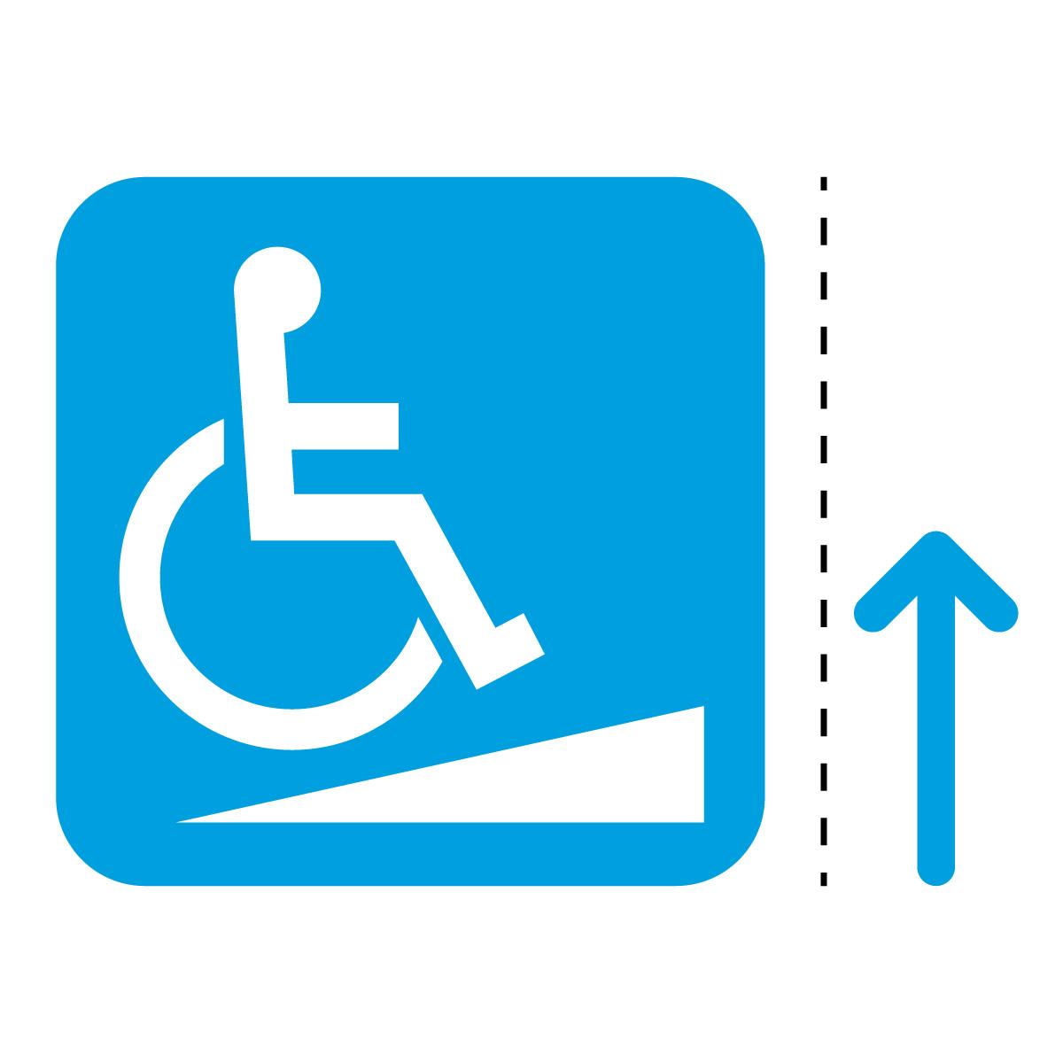青色の車椅子・障害者スロープ案内マーク(矢印付き)のカッティングステッカー・シール