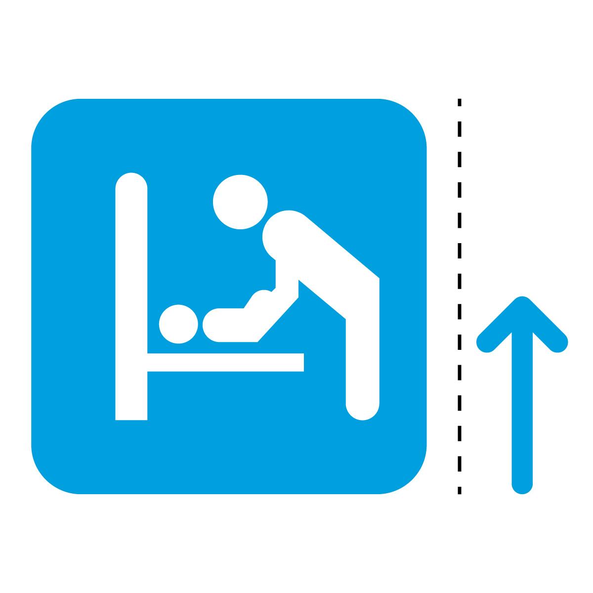 青色のオムツ替えの案内マーク(矢印付き)のカッティングステッカー・シール