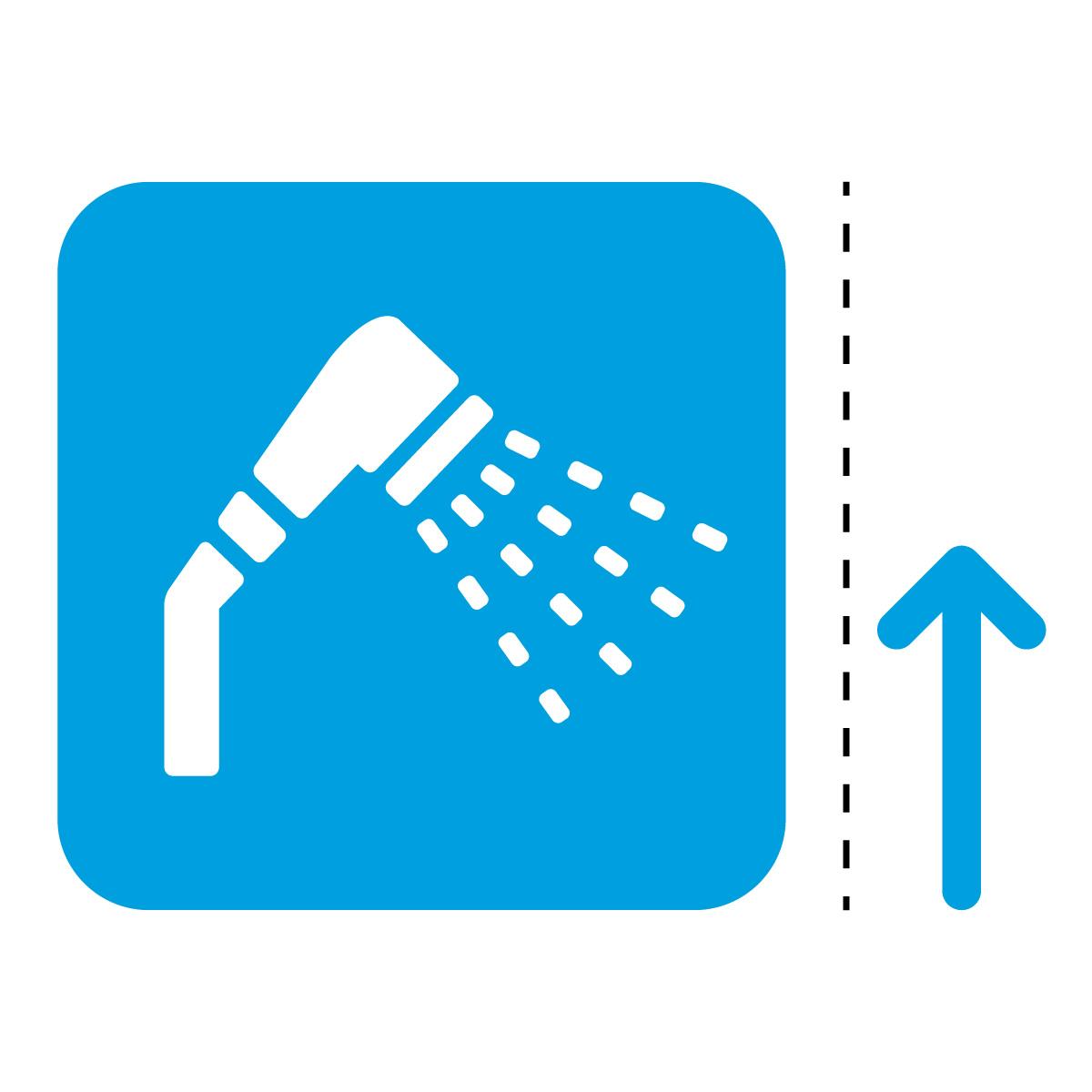 青色のシャワールーム案内マーク(矢印付き)のカッティングステッカー
