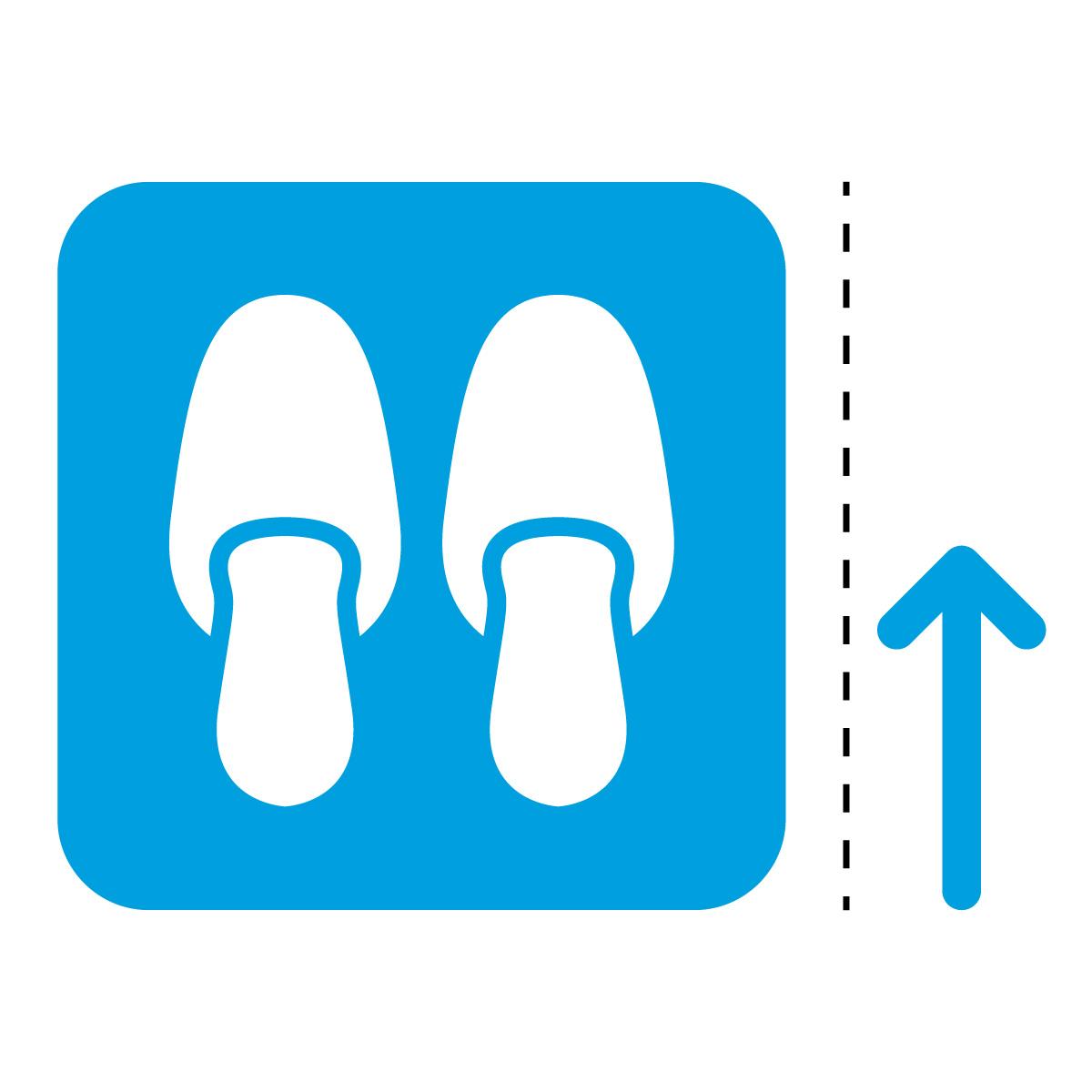 青色のスリッパ・内履き案内マーク(矢印付き)のカッティングステッカー光沢タイプ・防水・耐水・屋外耐候3~4年