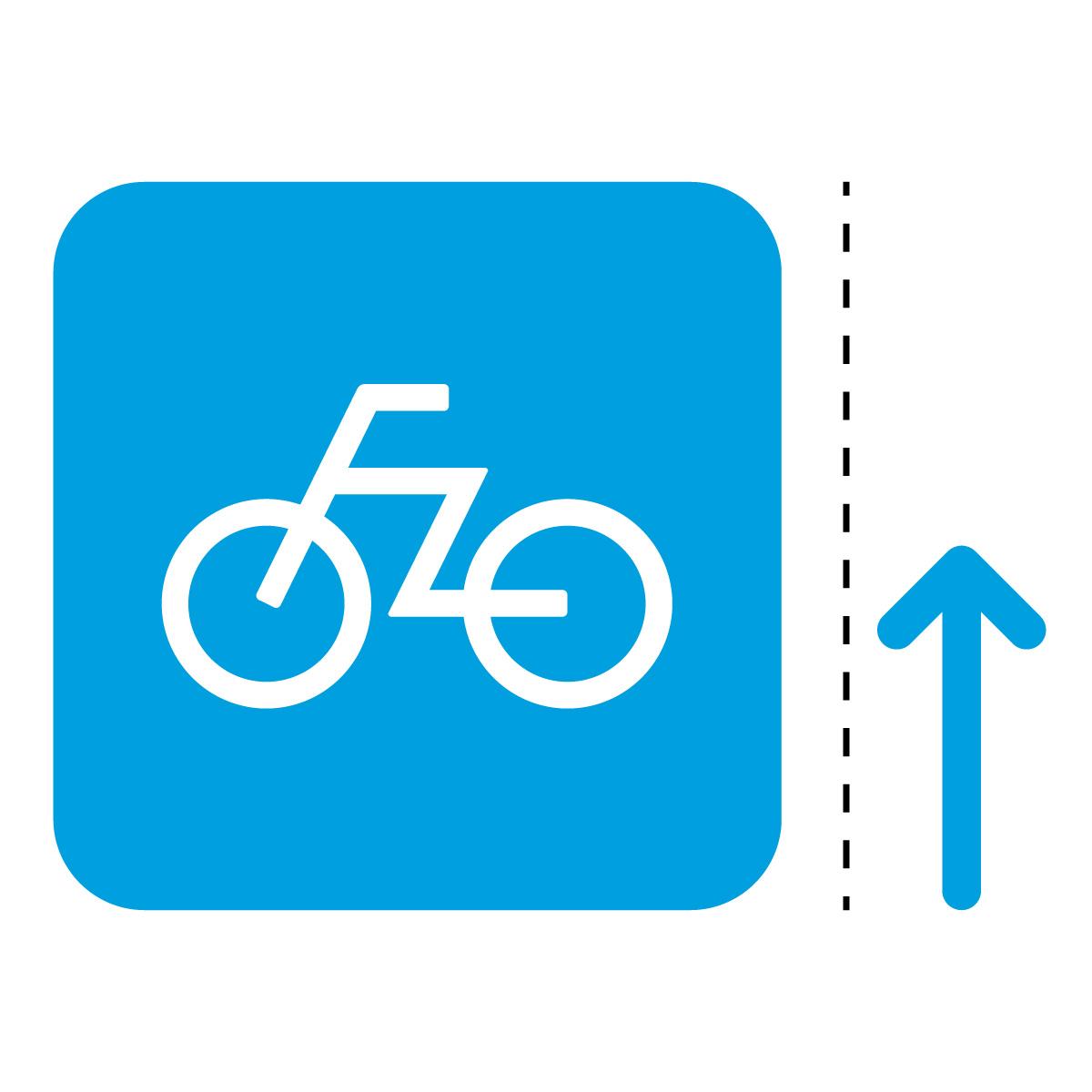 青色の自転車案内マークのカッティングステッカー・シール