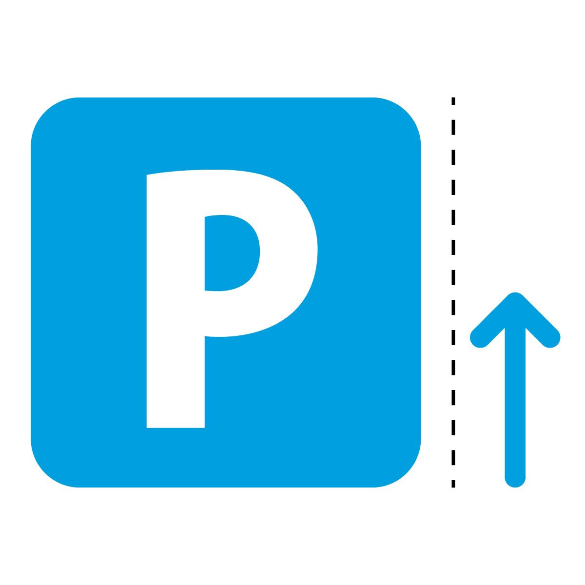 青色のパーキング・駐車場案内マークのカッティングステッカー・シール