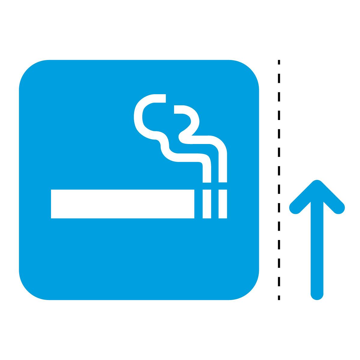 青色の喫煙スペース案内マークのカッティングステッカー・シール