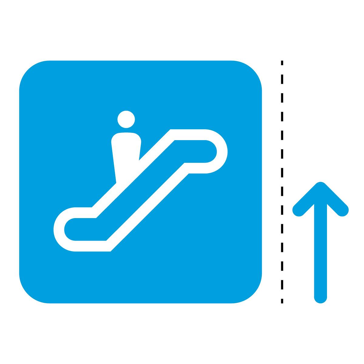 青色のエスカレーター案内マーク(矢印付き)のカッティングステッカー・シール