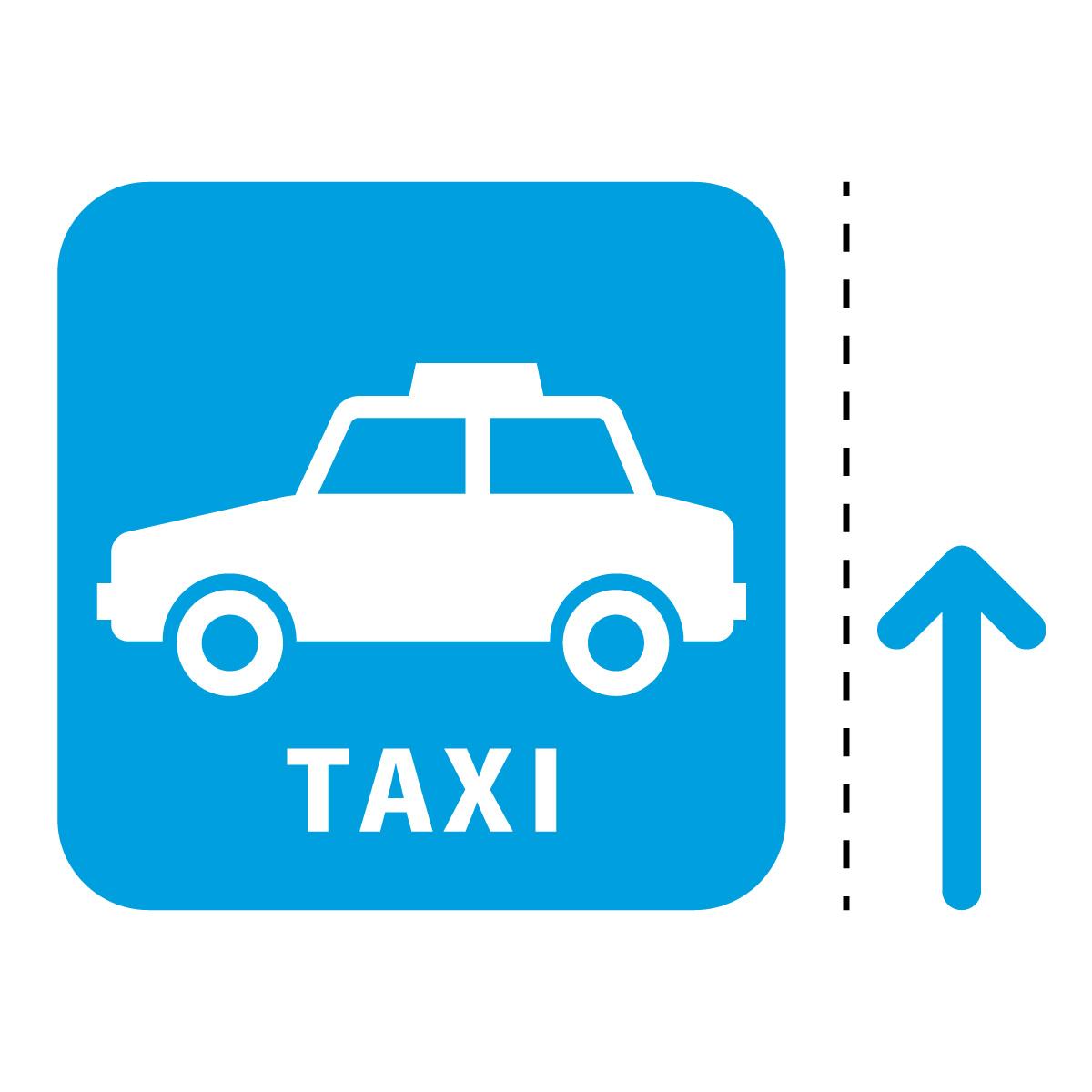 青色のタクシー案内マーク(矢印付き)のカッティングステッカー・シール