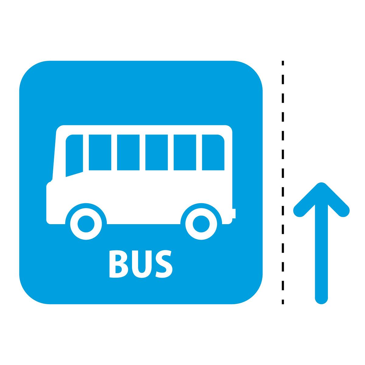 青色のバス案内マーク(矢印付き)のカッティングステッカー・シール