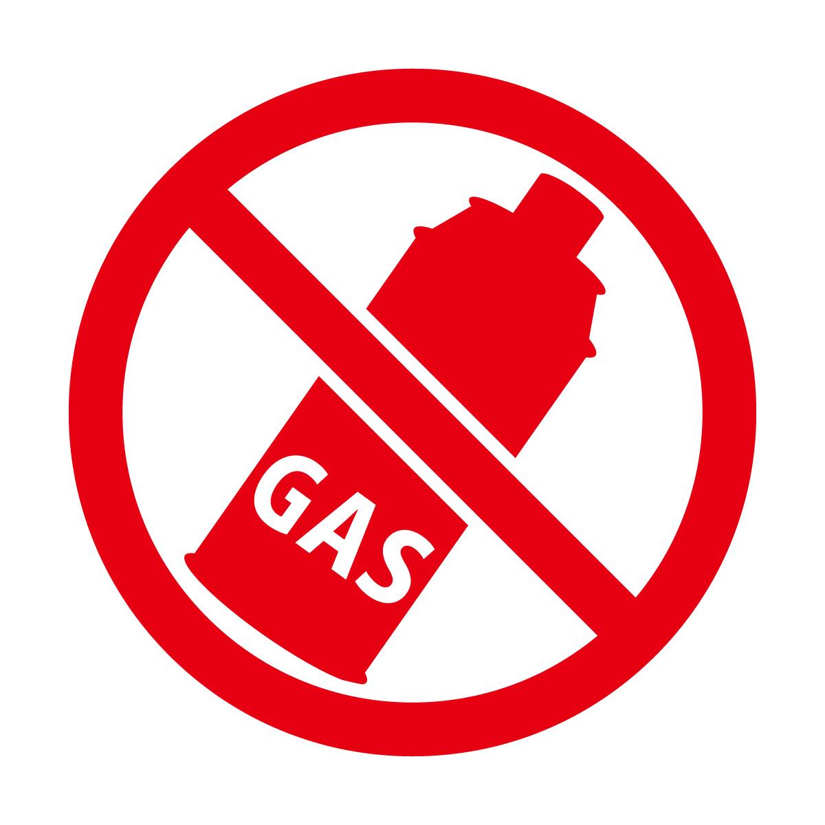 赤色のガス使用禁止マークのカッティングステッカー・シール