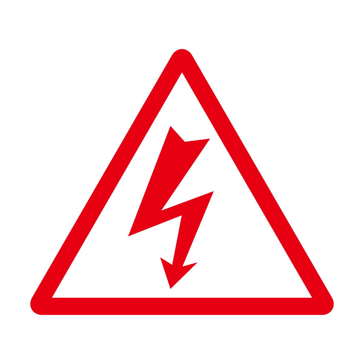 赤色の感電・高圧電気注意マークのカッティングステッカー・シール 光沢タイプ・防水・耐水・屋外耐候3~4年