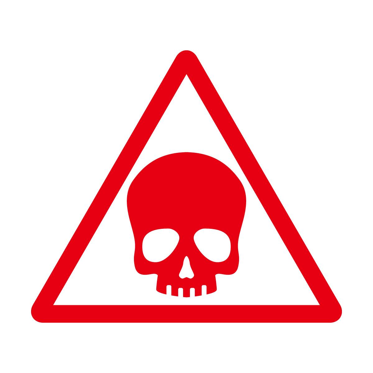 赤色のドクロ・有害・危険・猛毒・注意マークのカッティングステッカー・シール 光沢タイプ・防水・耐水・屋外耐候3~4年
