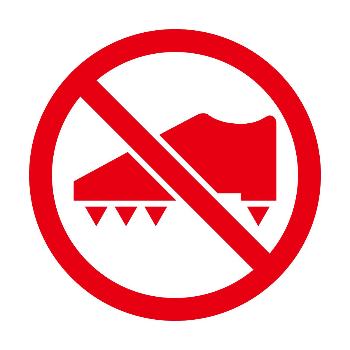 赤色のスパイク着用・使用禁止マークのカッティングステッカー・シール 光沢タイプ・防水・耐水・屋外耐候3~4年