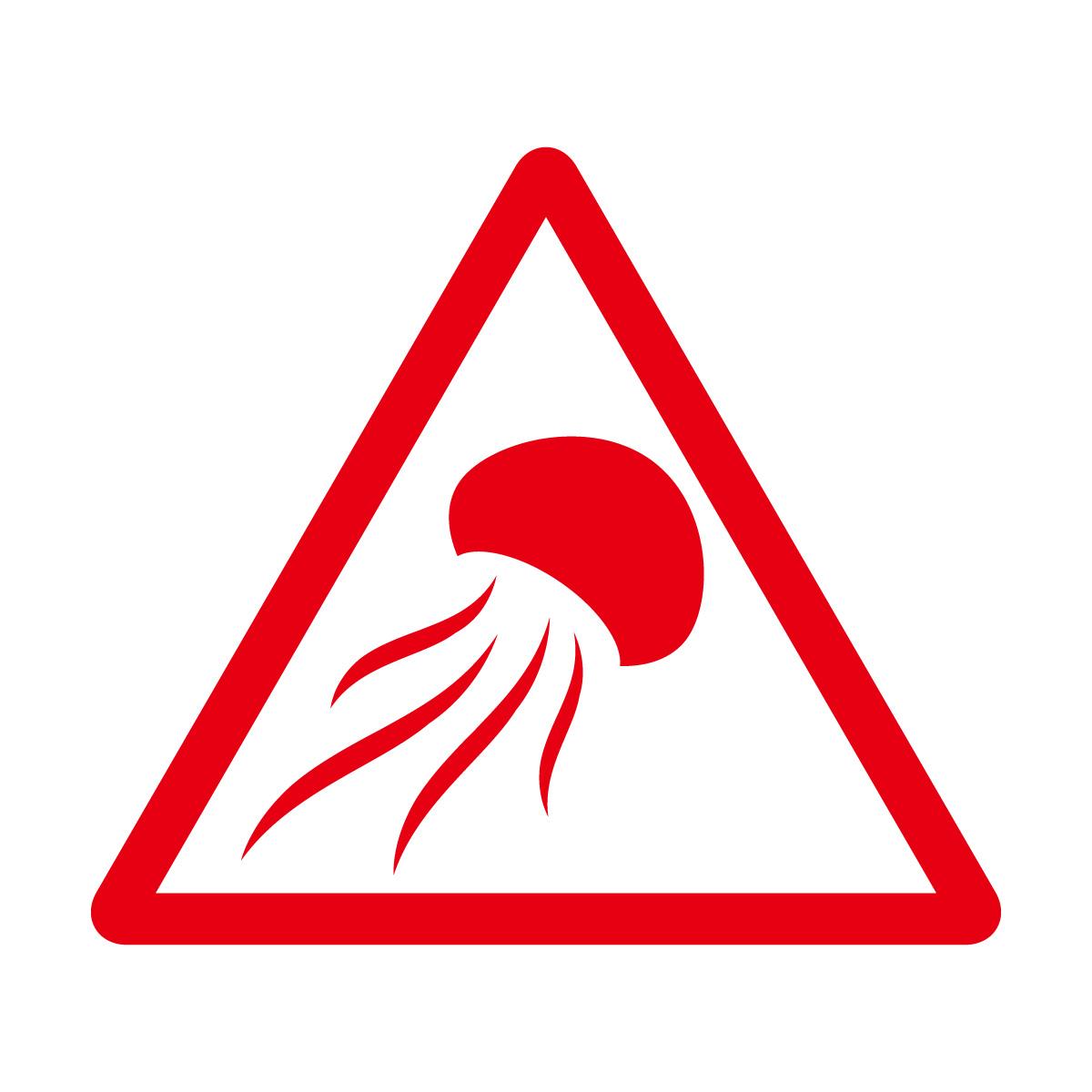 赤色のクラゲ出没注意マークのカッティングステッカー・シール