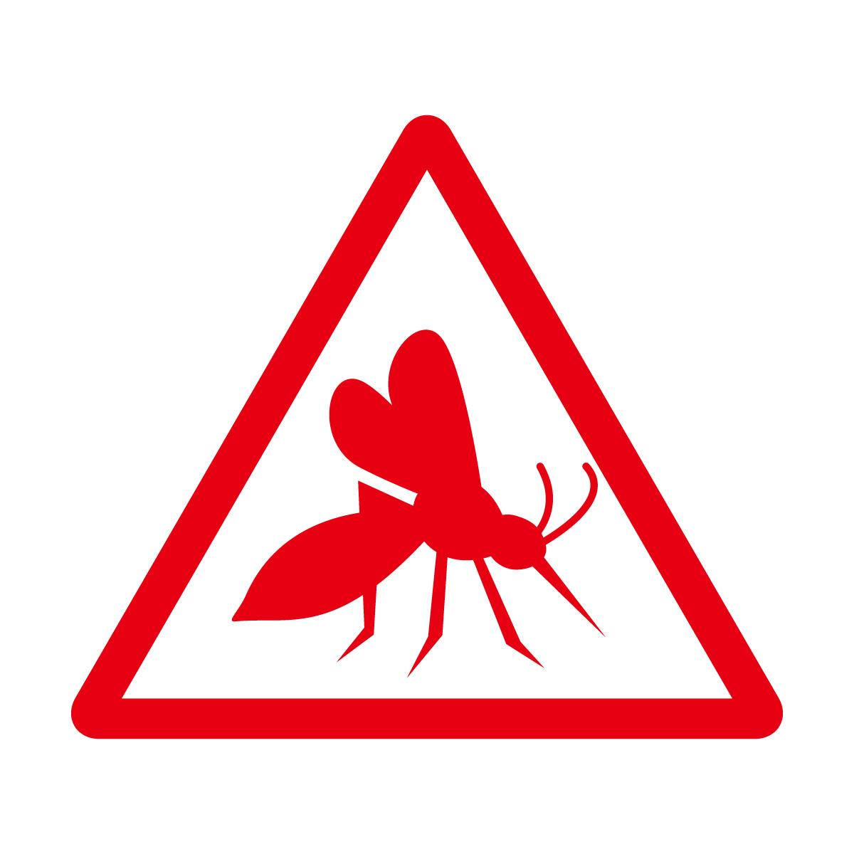 赤色の蚊注意マークのカッティングステッカー・シール