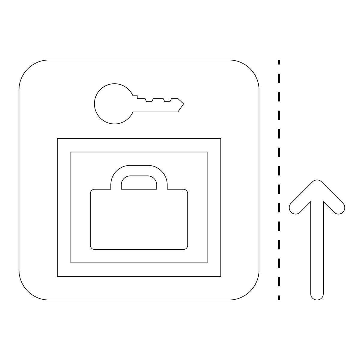 白色のロッカー案内マーク(矢印付き)のカッティングステッカー・シール