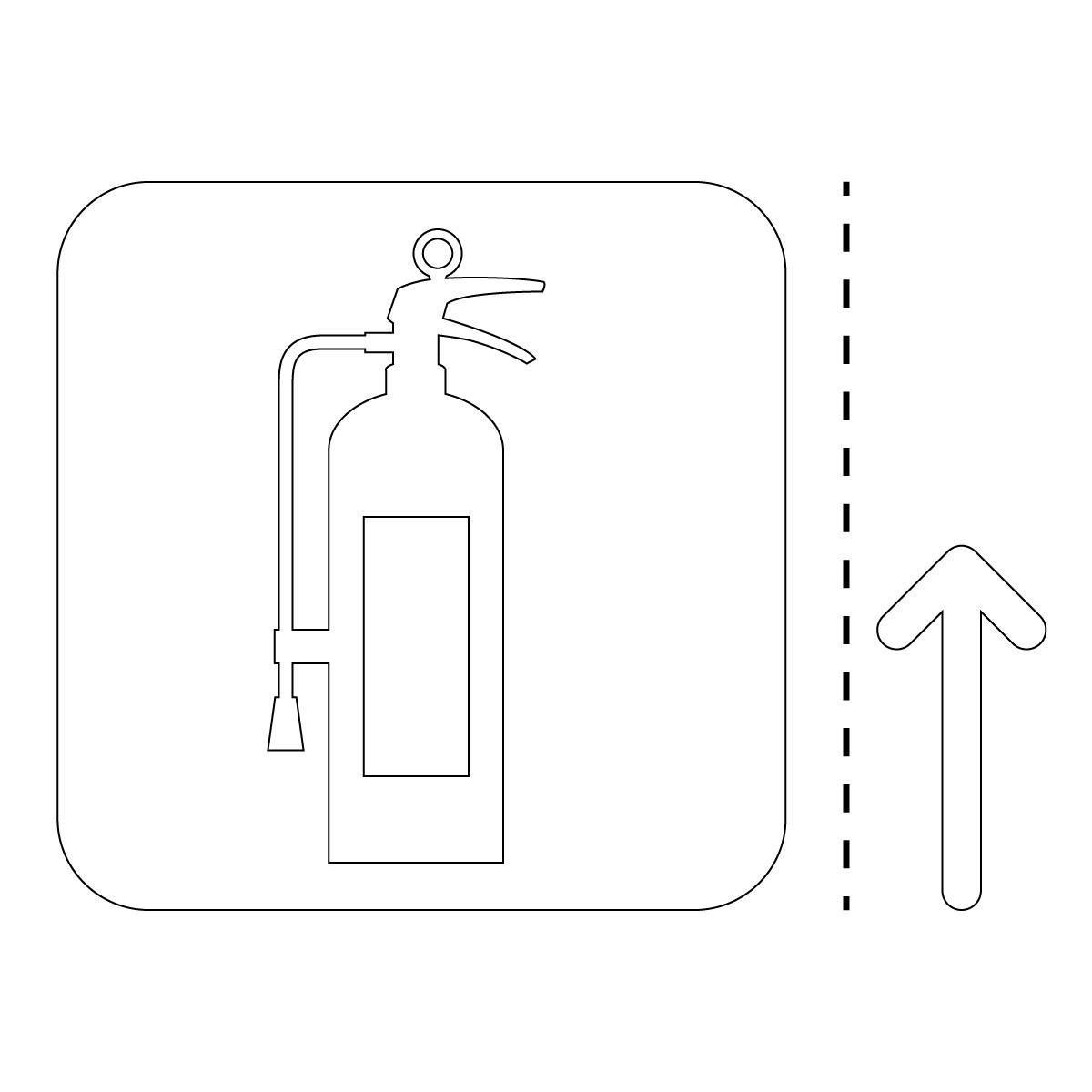 白色の消火器案内マーク(矢印付き)のカッティングステッカー・シール