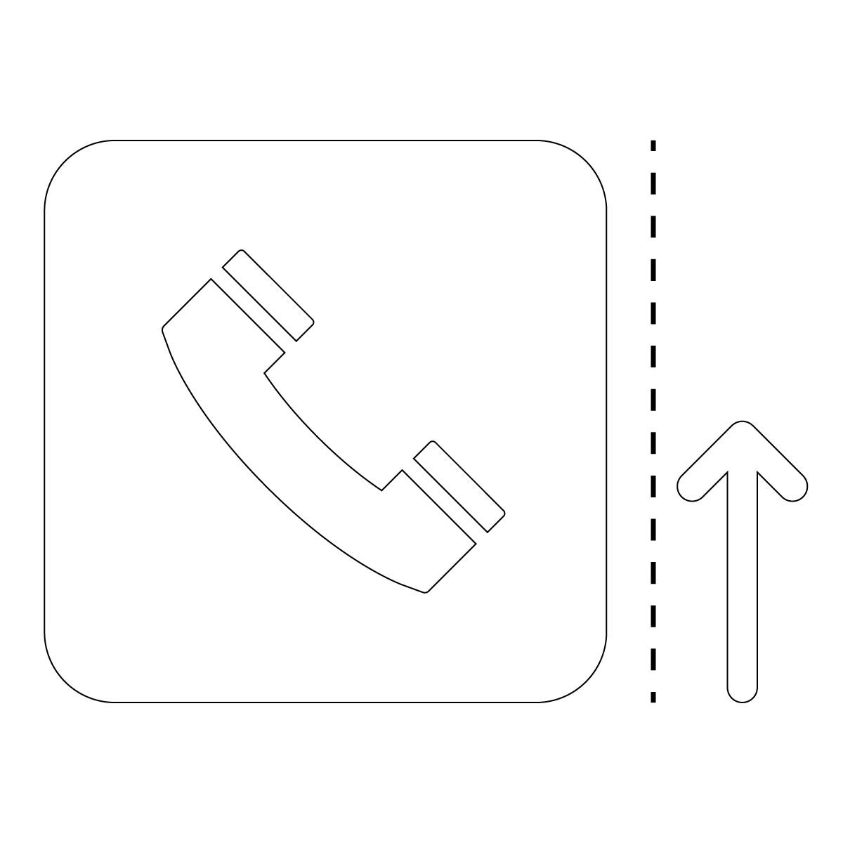 白色の公衆電話案内マーク(矢印付き)のカッティングステッカー・シール