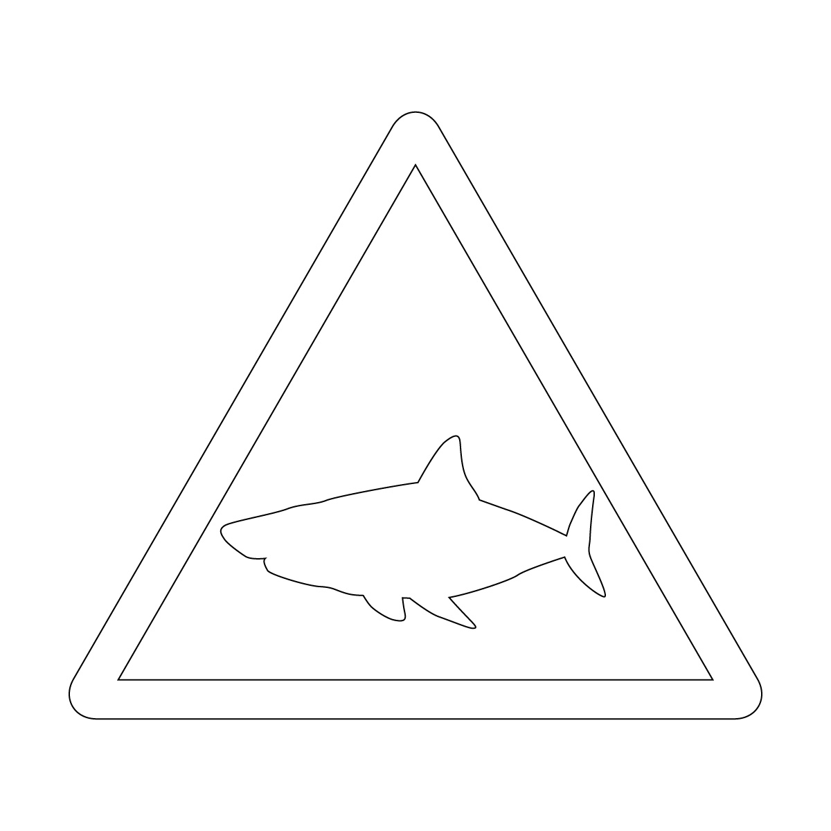 白色のサメ出没注意マークのカッティングステッカー・シール