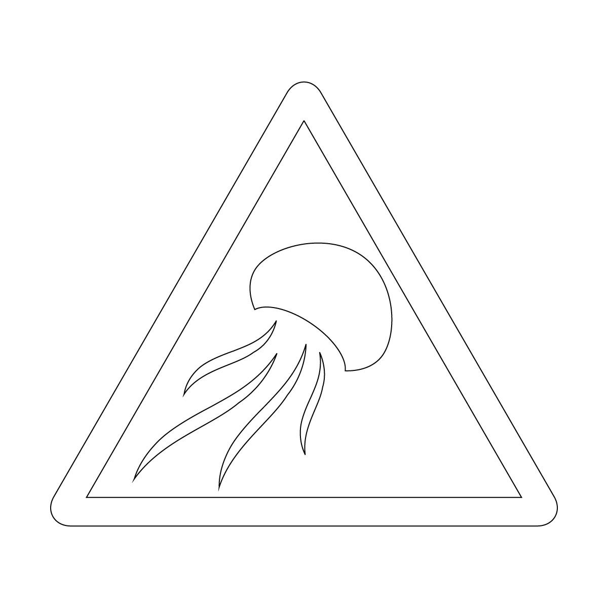 白色のクラゲ出没注意マークのカッティングステッカー・シール