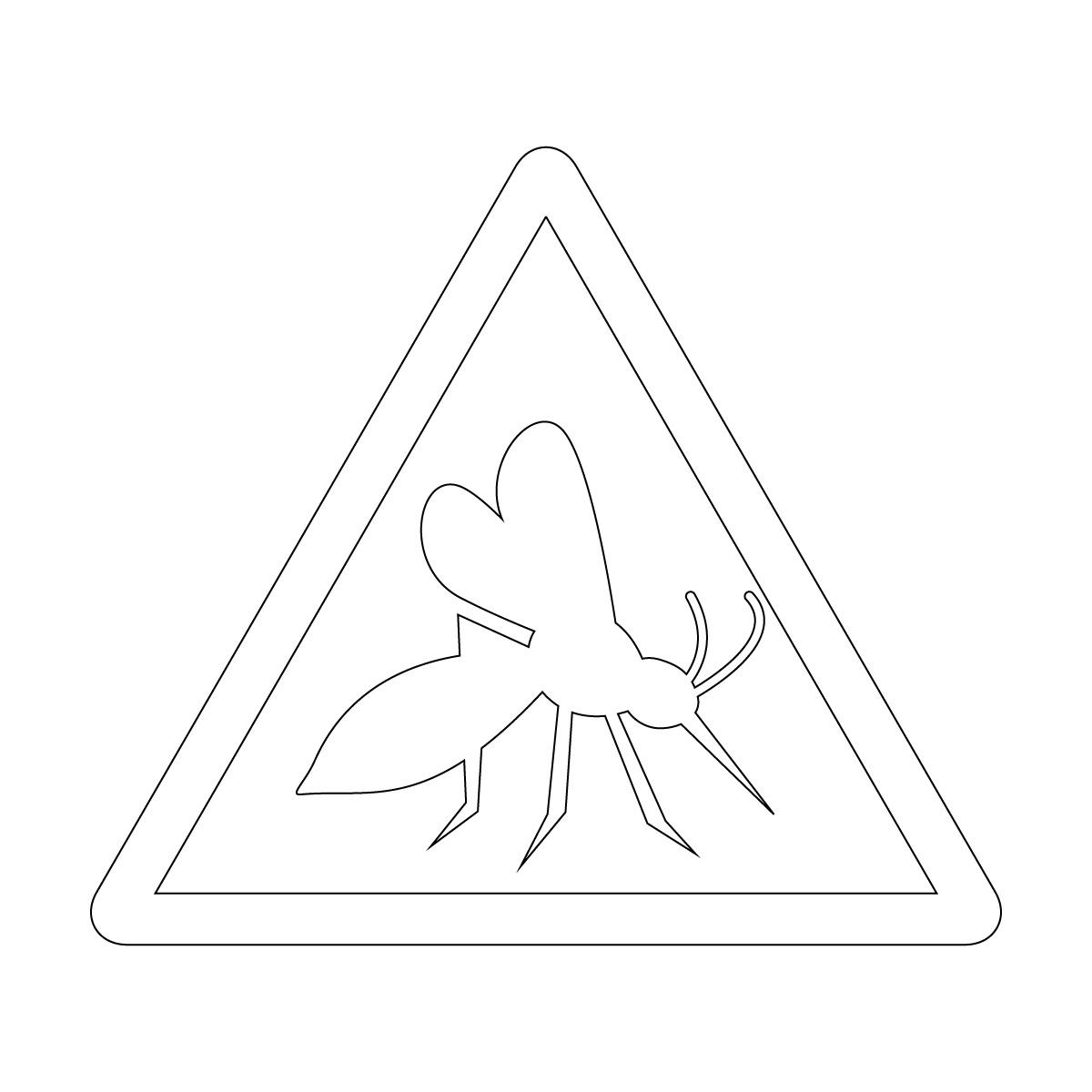 白色の蚊注意マークのカッティングステッカー・シール