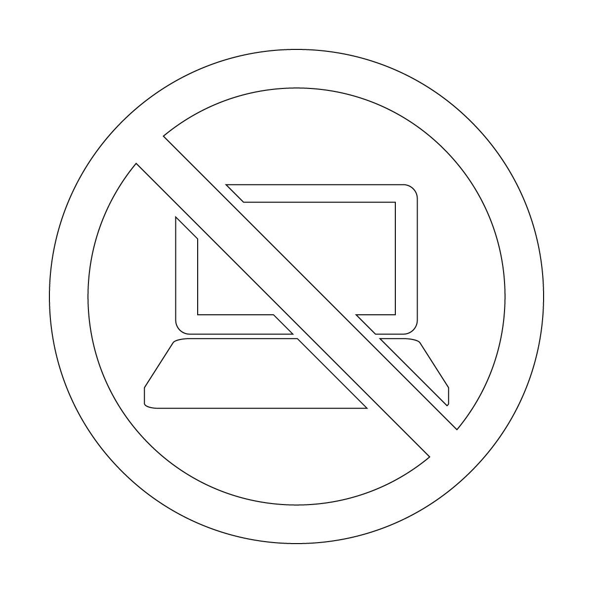 白色のパソコン使用禁止マークのカッティングステッカー・シール