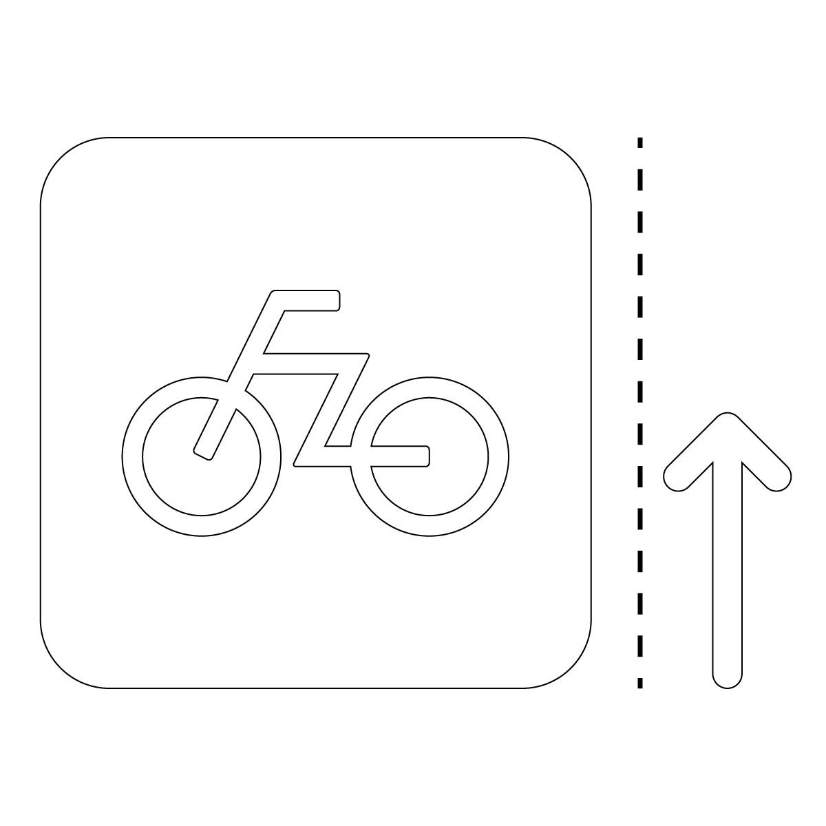白色の自転車案内マークのカッティングステッカー・シール