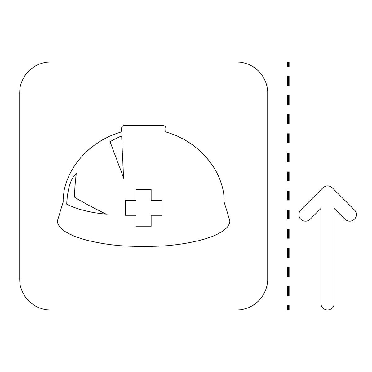 白色のヘルメット・着用 事故防止の案内マークのカッティングステッカー・シール