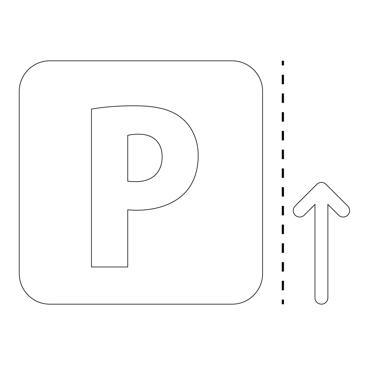 白色のパーキング・駐車場案内マークのカッティングステッカー・シール