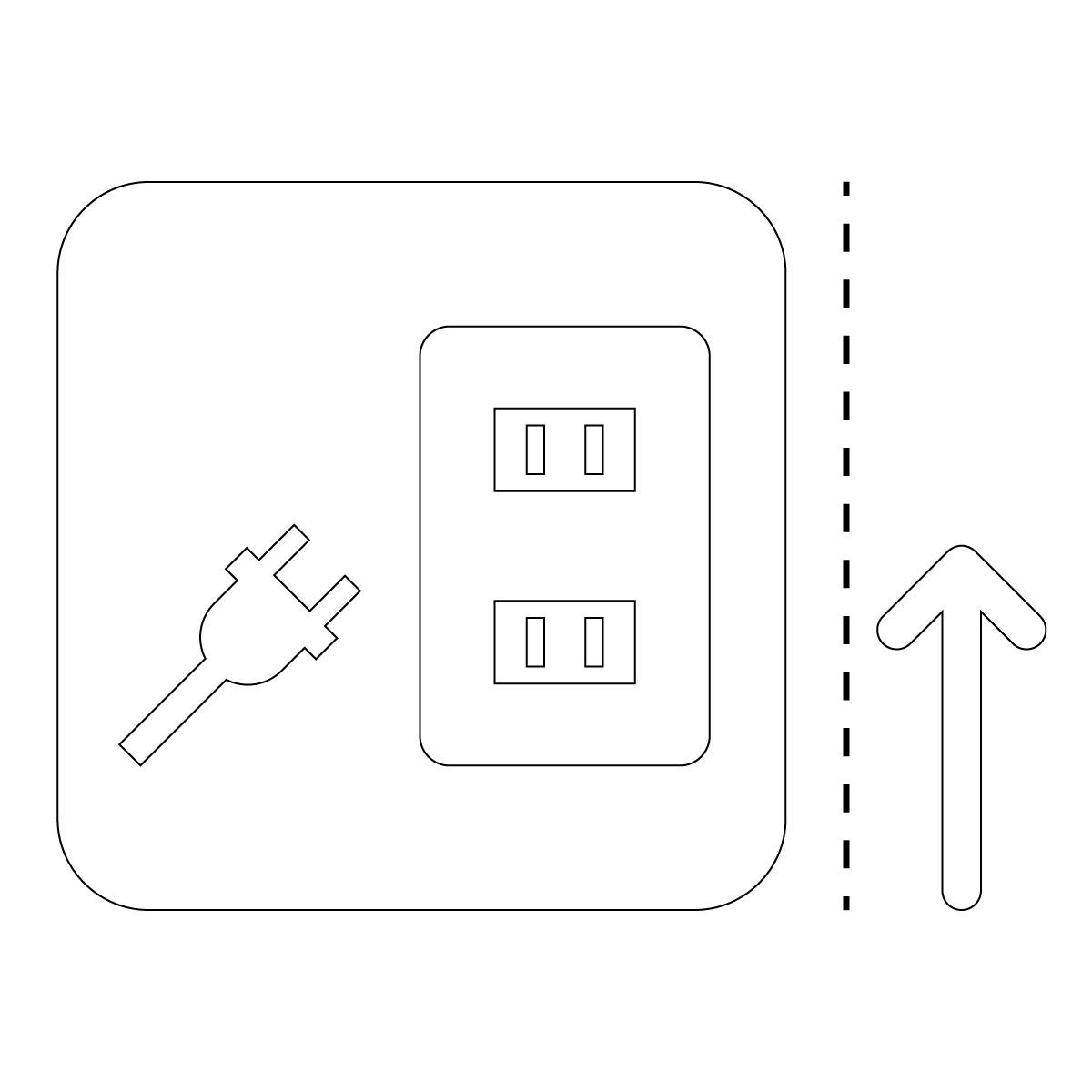 白色のコンセント案内使用可マークのカッティングステッカー・シール