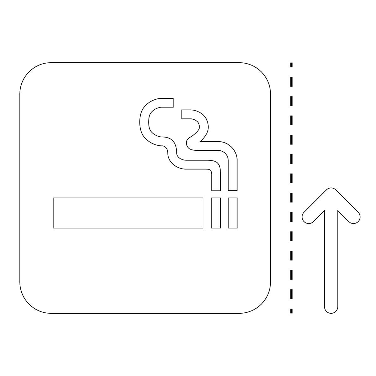 白色の喫煙スペース案内マークのカッティングステッカー・シール