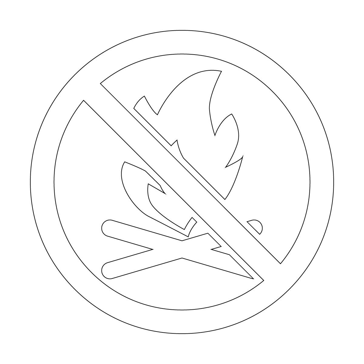 白色の焚き火・火起こし禁止マークのカッティングステッカー・シール