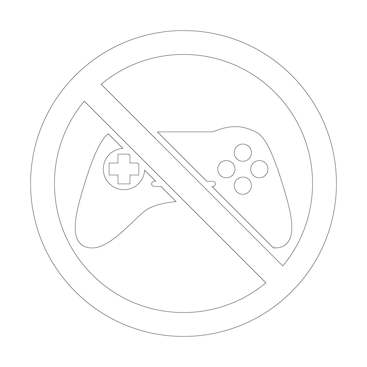 白色のゲーム禁止マークのカッティングステッカー・シール