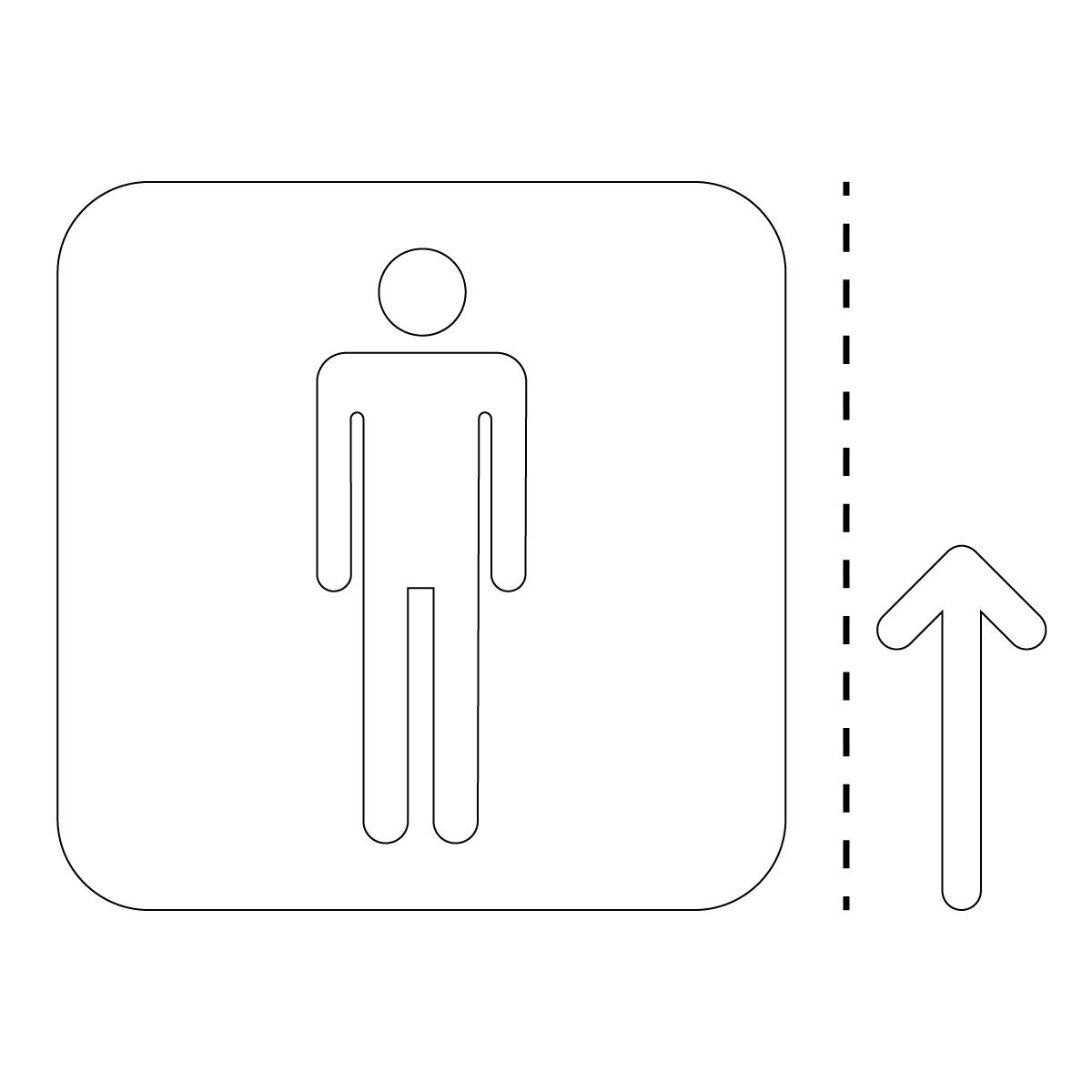 白色の男性トイレ案内マーク(矢印付き)のカッティングステッカー・シール