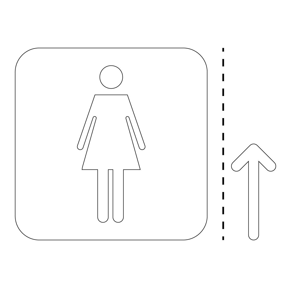 白色の女性トイレ案内マーク(矢印付き)のカッティングステッカー・シール
