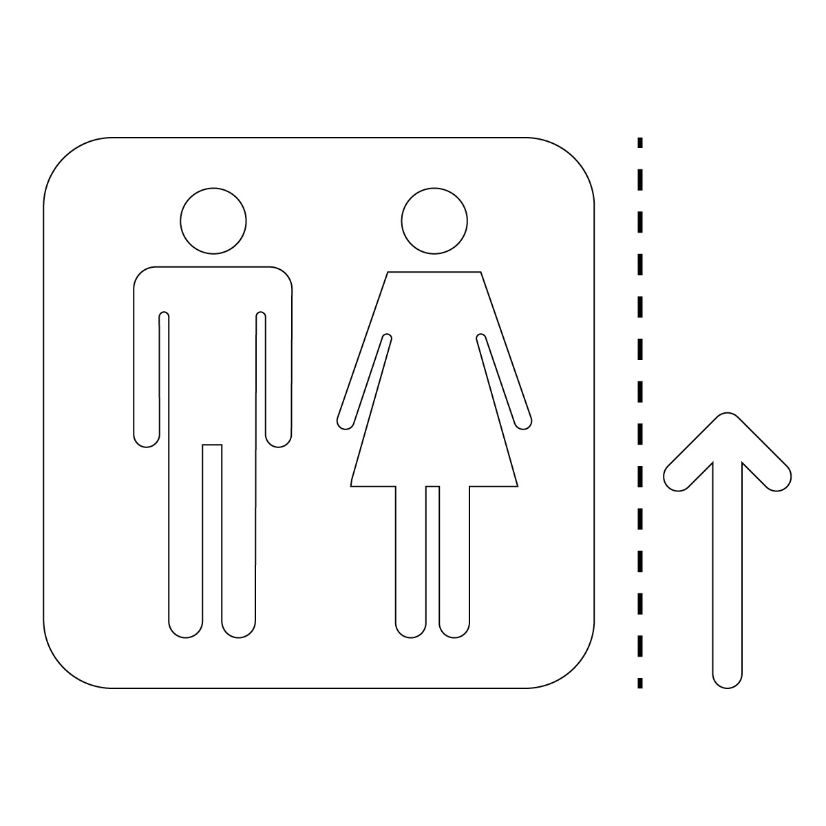 白色の男女トイレ案内マーク(矢印付き)のカッティングステッカー・シール