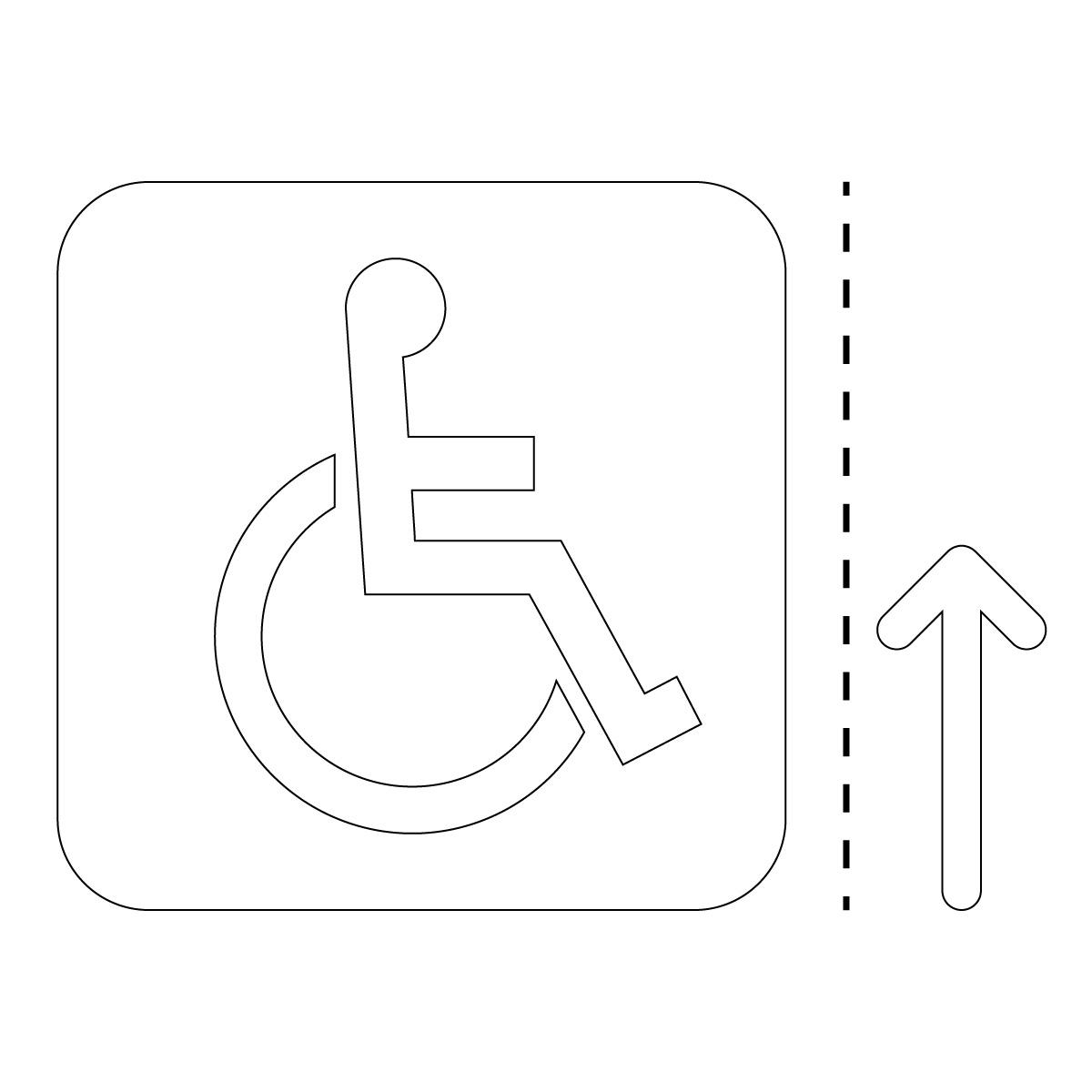 白色の車椅子・障害者案内マーク(矢印付き)のカッティングステッカー・シール