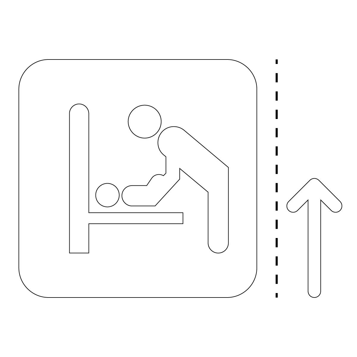 白色のオムツ替えの案内マーク(矢印付き)のカッティングステッカー・シール