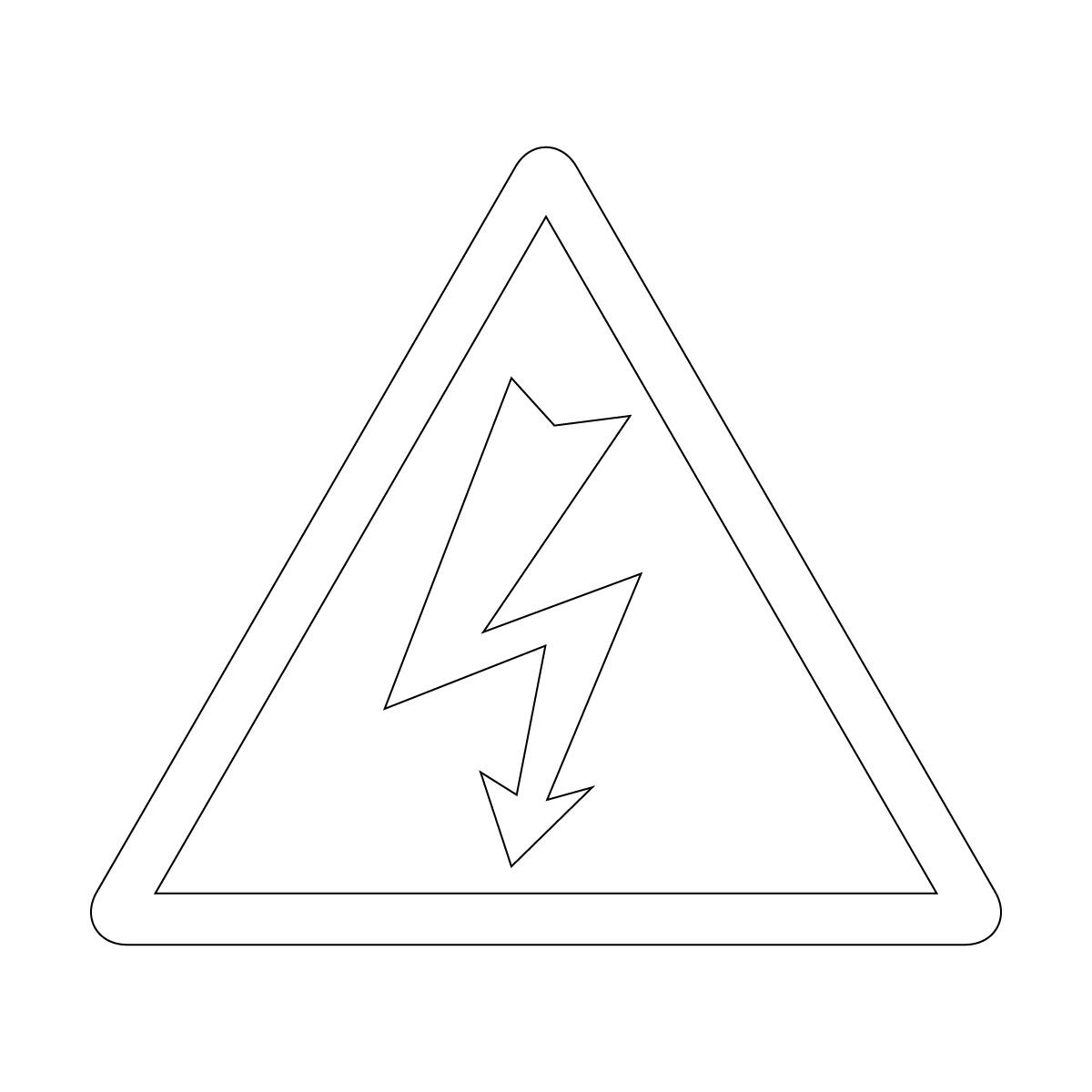 白色の感電・高圧電気注意マークのカッティングステッカー・シール 光沢タイプ・防水・耐水・屋外耐候3~4年