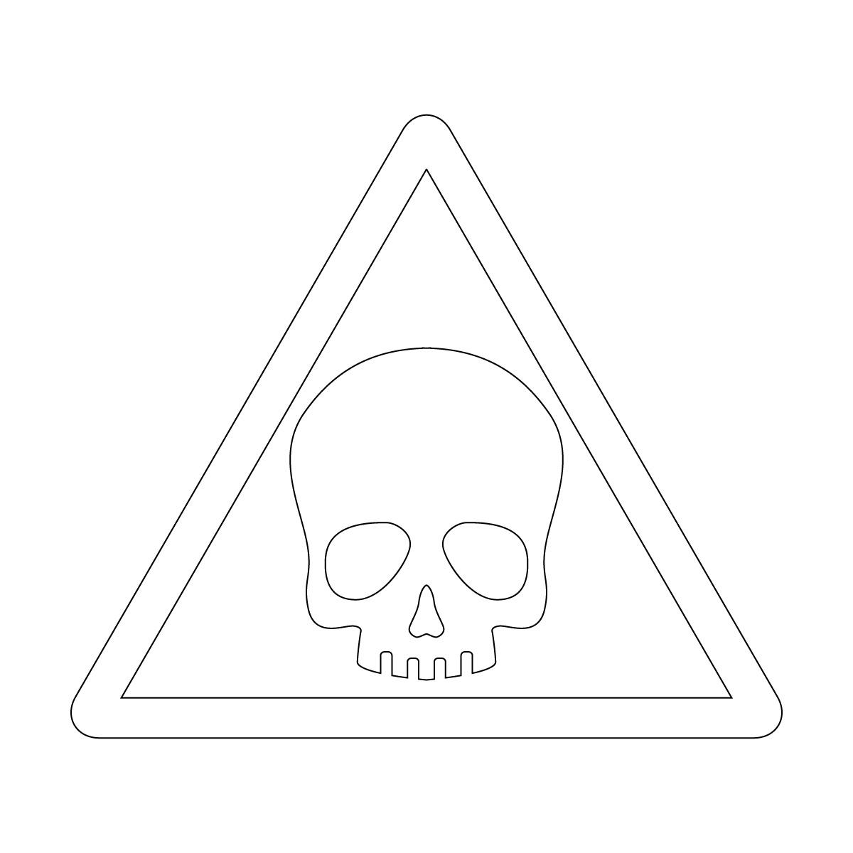 白色のドクロ・有害・危険・猛毒・注意マークのカッティングステッカー・シール 光沢タイプ・防水・耐水・屋外耐候3~4年
