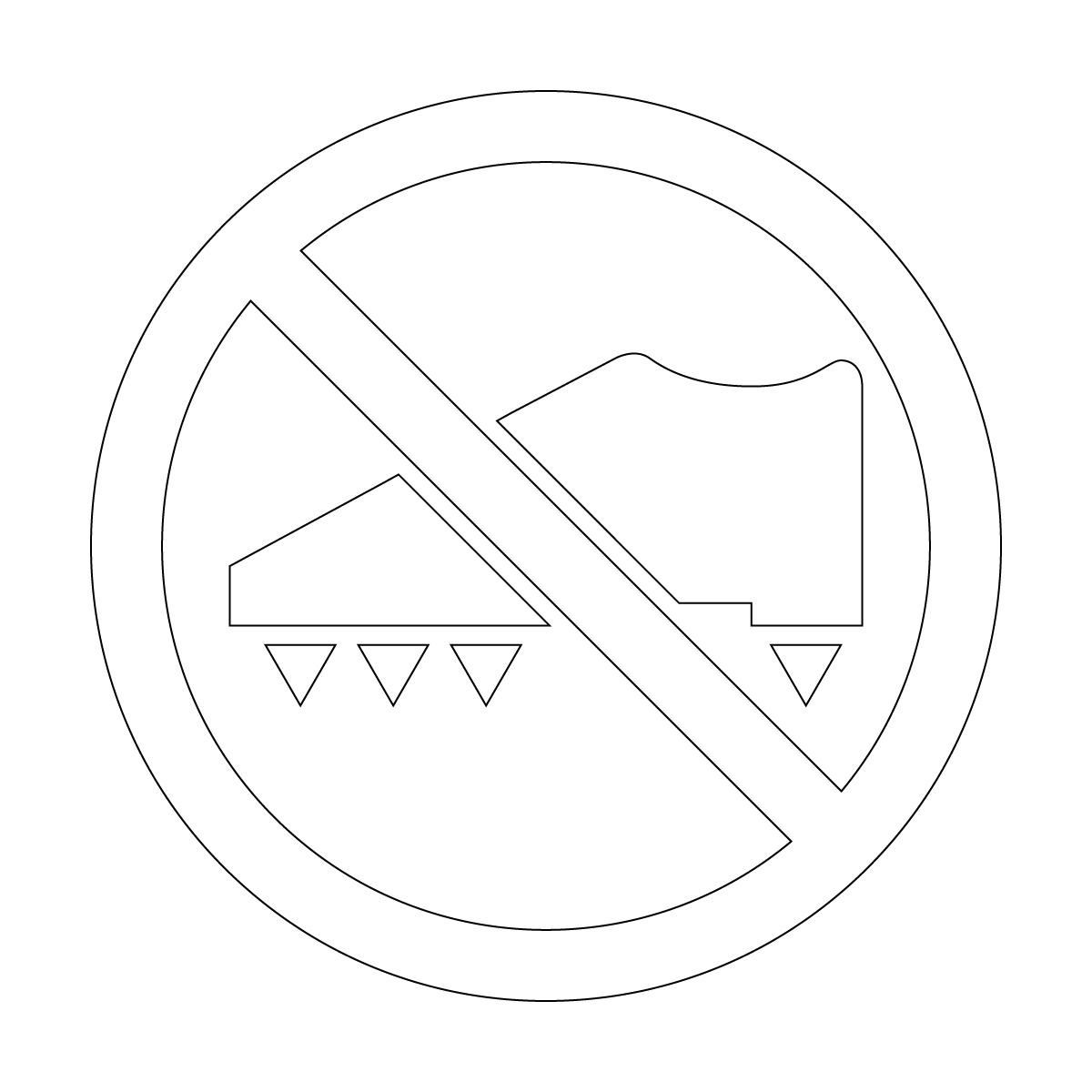 白色のスパイク着用・使用禁止マークのカッティングステッカー・シール 光沢タイプ・防水・耐水・屋外耐候3~4年