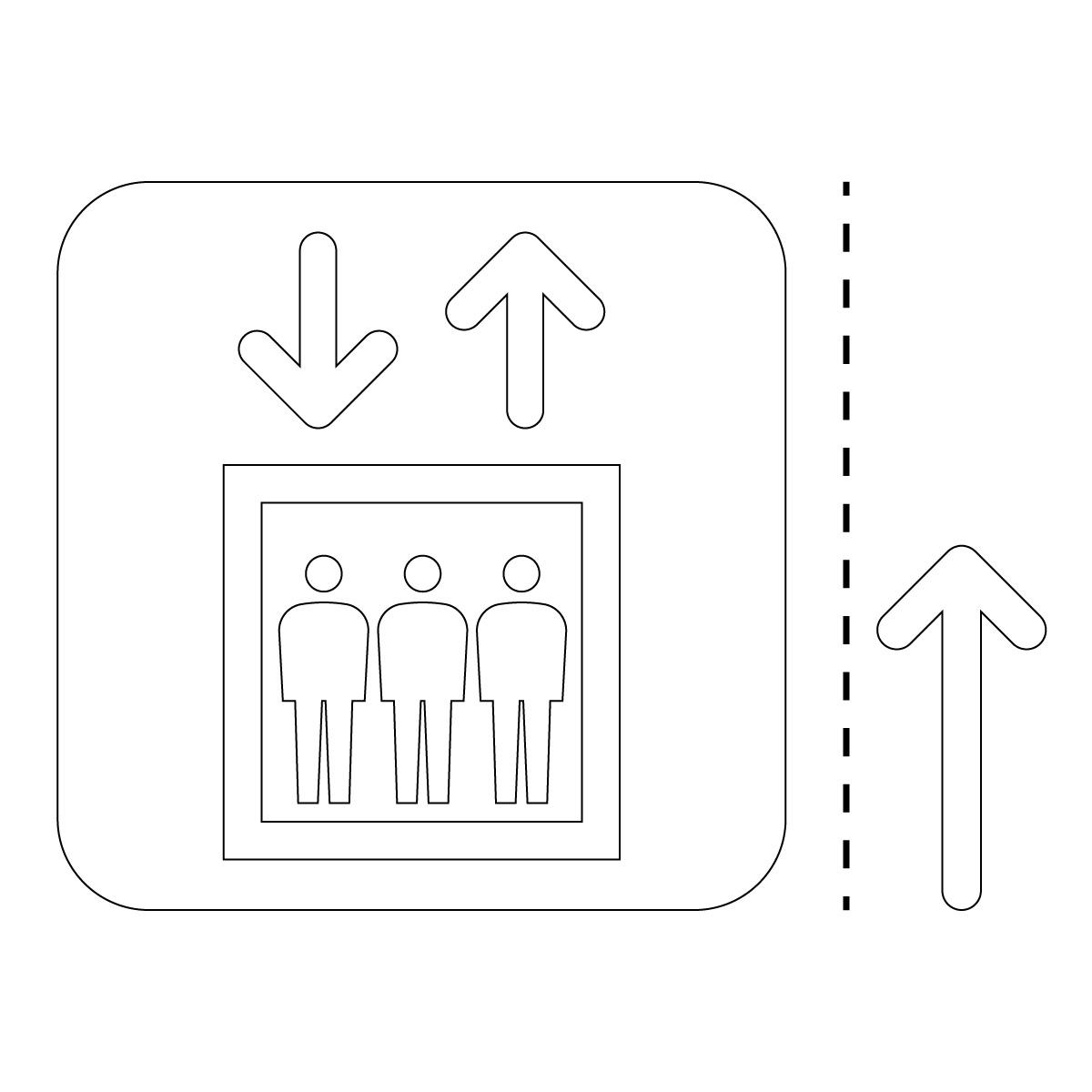 白色のエレベーター案内マーク(矢印付き)のカッティングステッカー・シール 光沢タイプ・耐水・屋外耐候3~4年