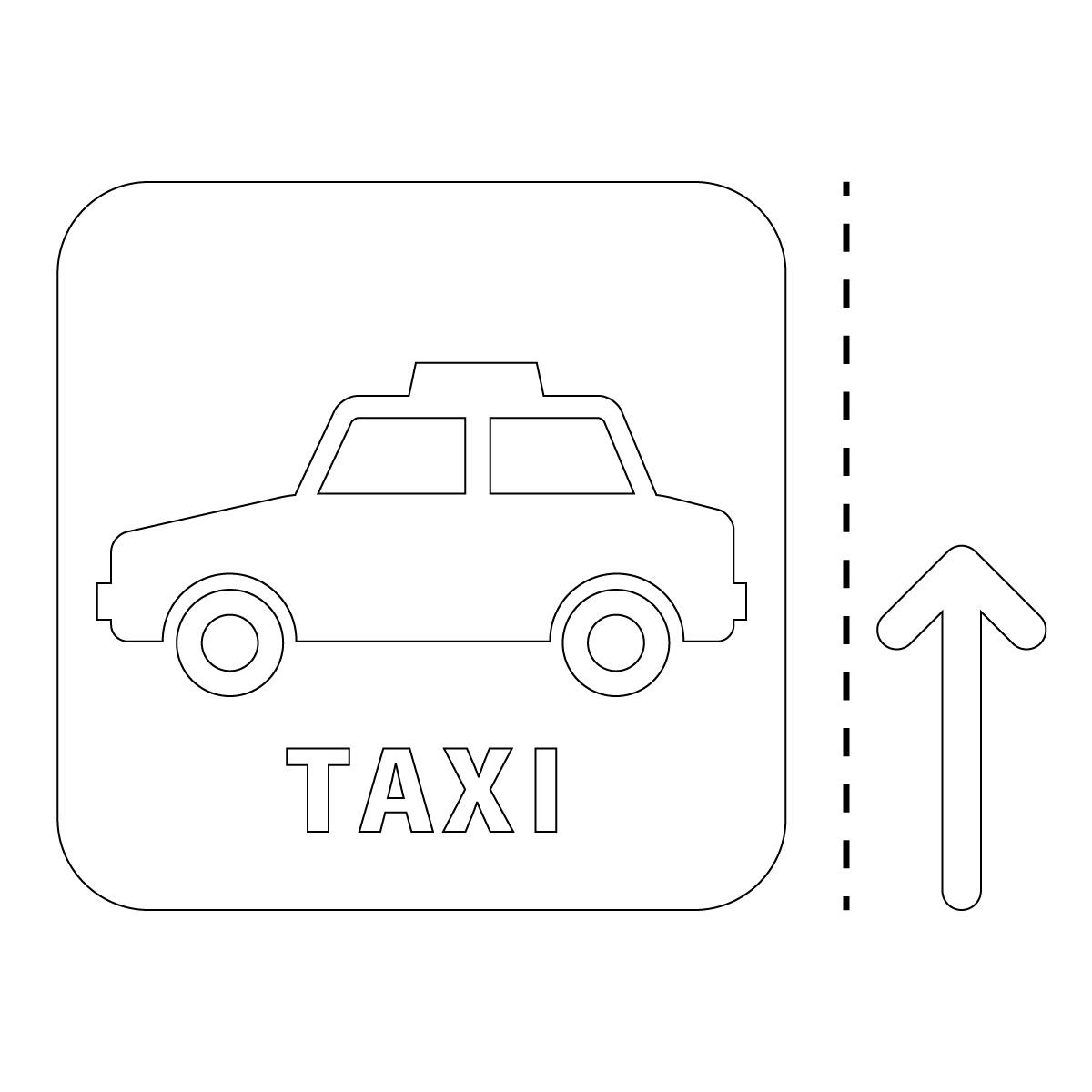 白色のタクシー案内マーク(矢印付き)のカッティングステッカー・シール