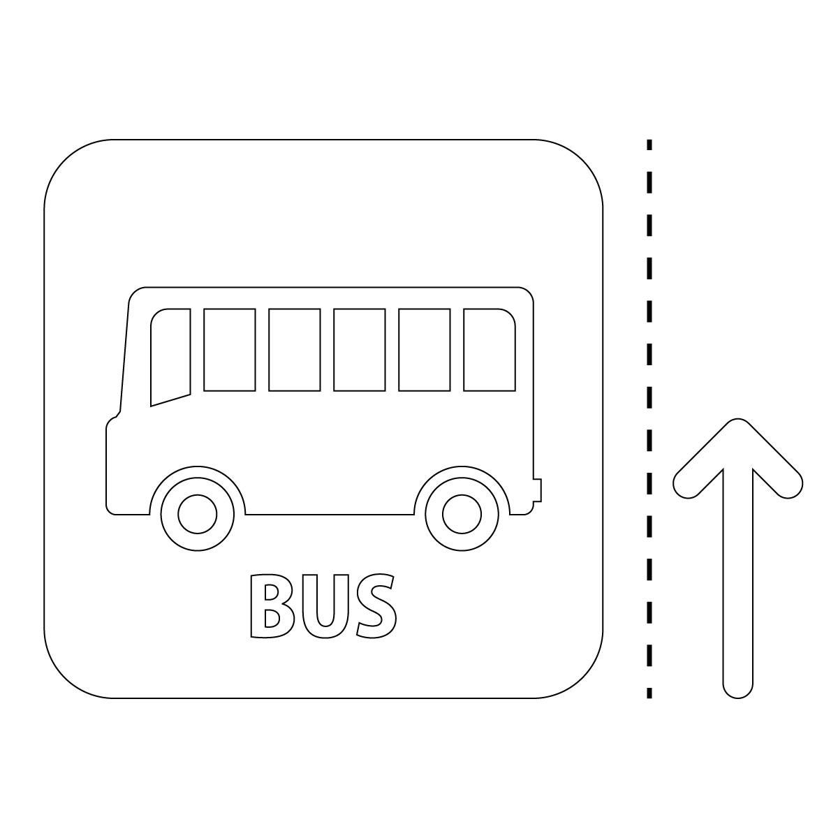 白色のバス案内マーク(矢印付き)のカッティングステッカー・シール