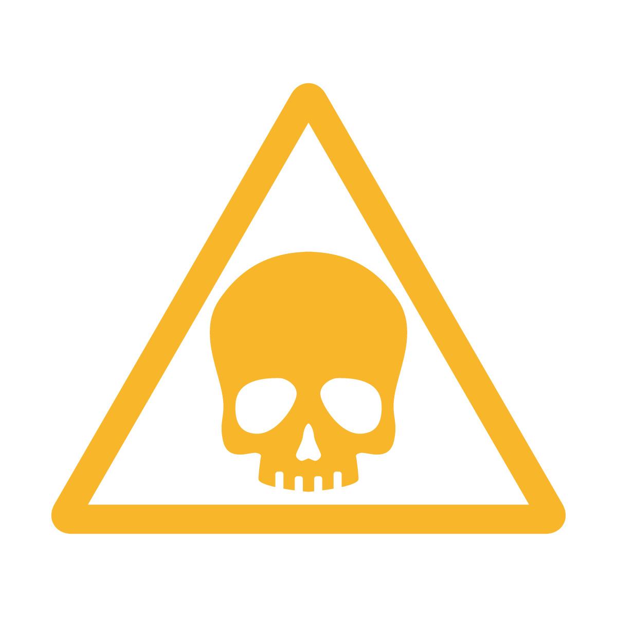 黄色のドクロ・有害・危険・猛毒・注意マークのカッティングステッカー・シール 光沢タイプ・防水・耐水・屋外耐候3~4年