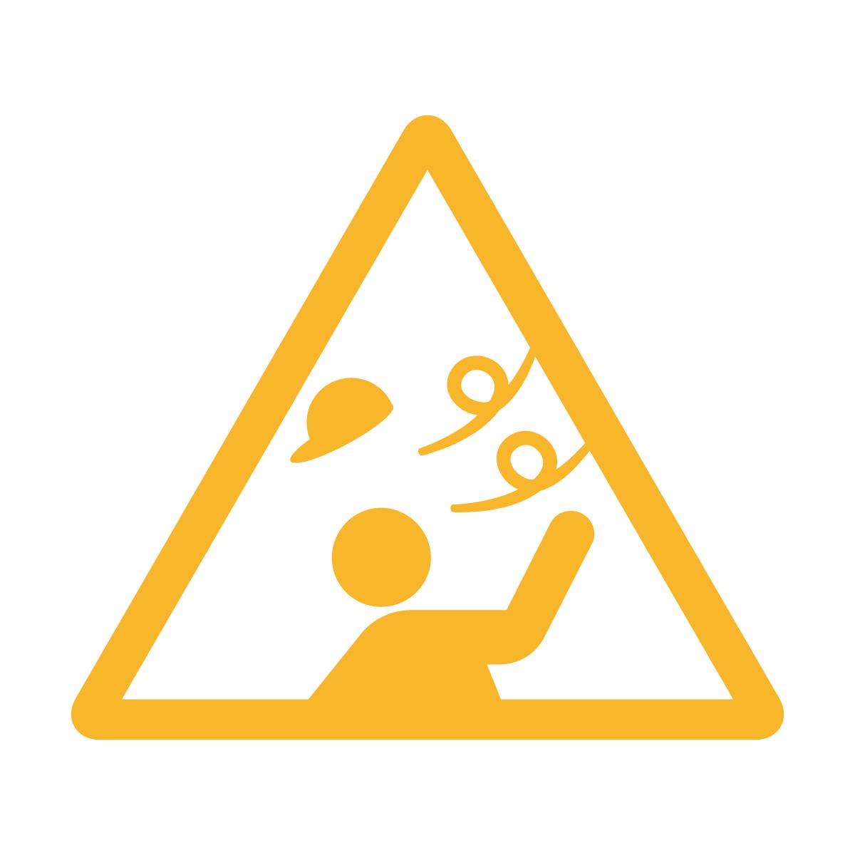 黄色の強風注意マークのカッティングステッカー・シール 光沢タイプ・防水・耐水・屋外耐候3~4年