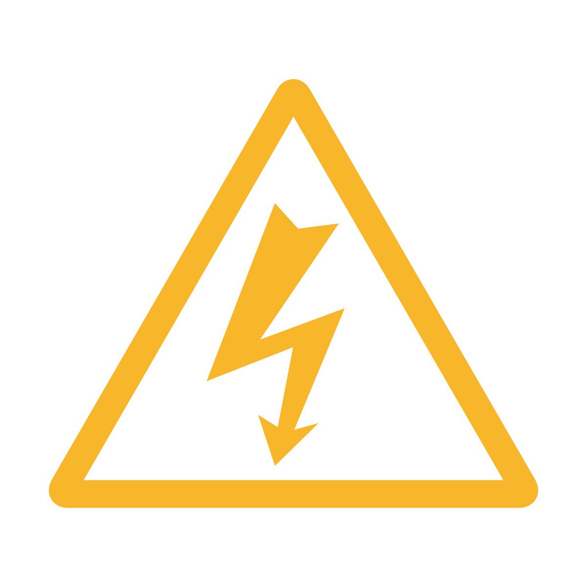 黄色の感電・高圧電気注意マークのカッティングステッカー・シール 光沢タイプ・防水・耐水・屋外耐候3~4年