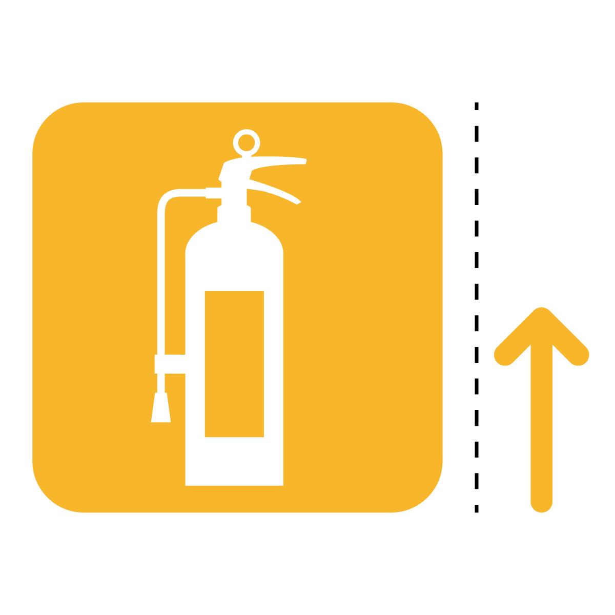 黄色の消火器案内マーク(矢印付き)のカッティングステッカー・シール