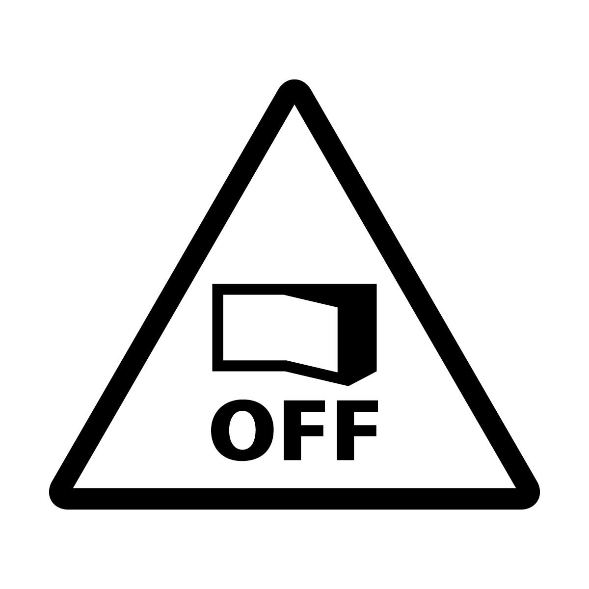 黒色の節電注意・電源OFF確認マークのカッティングステッカー・シール 光沢タイプ・防水・耐水・屋外耐候3~4年