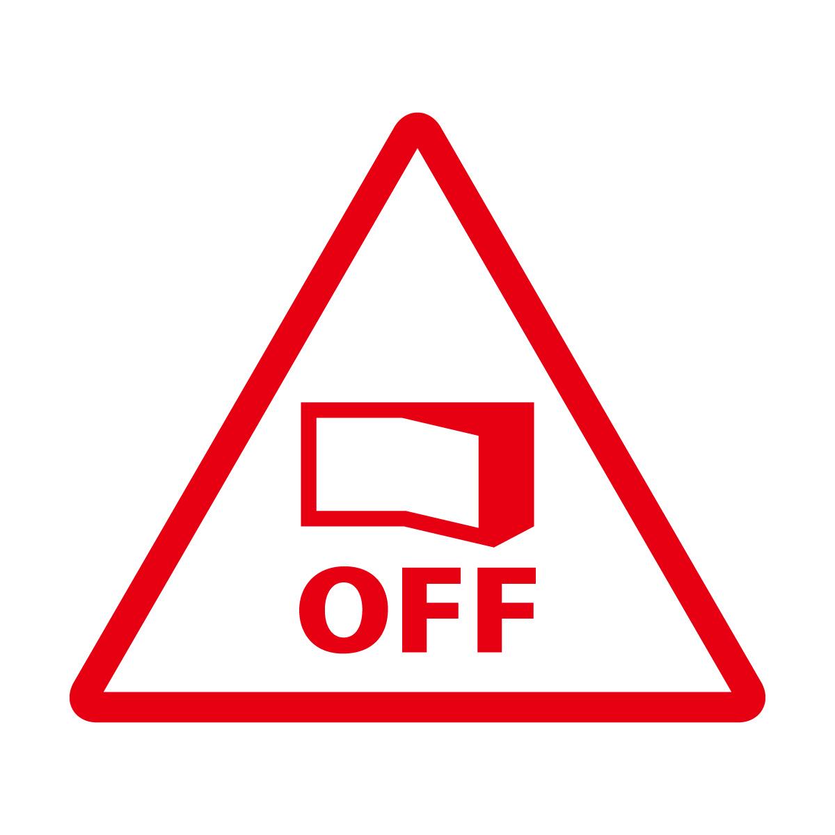 赤色の節電注意・電源OFF確認マークのカッティングステッカー・シール 光沢タイプ・防水・耐水・屋外耐候3~4年